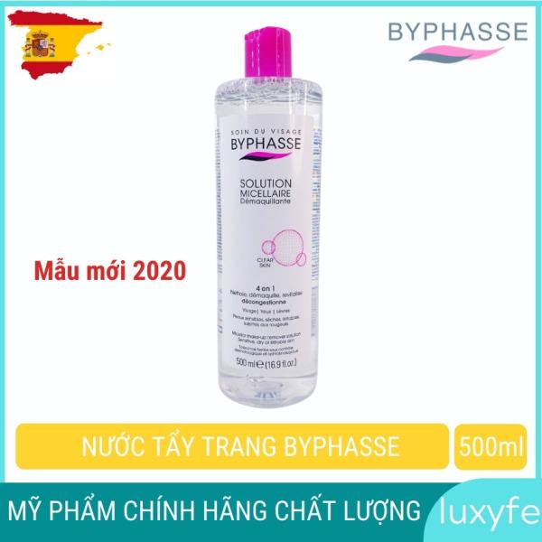 Nước tẩy trang byphasse solution micellaire hiệu quả cho mọi loại da 500ml, giúp tẩy trang sạch sâu hiệu quả các chất bẩn và bã nhờn sâu trong lỗ chân lông giá rẻ