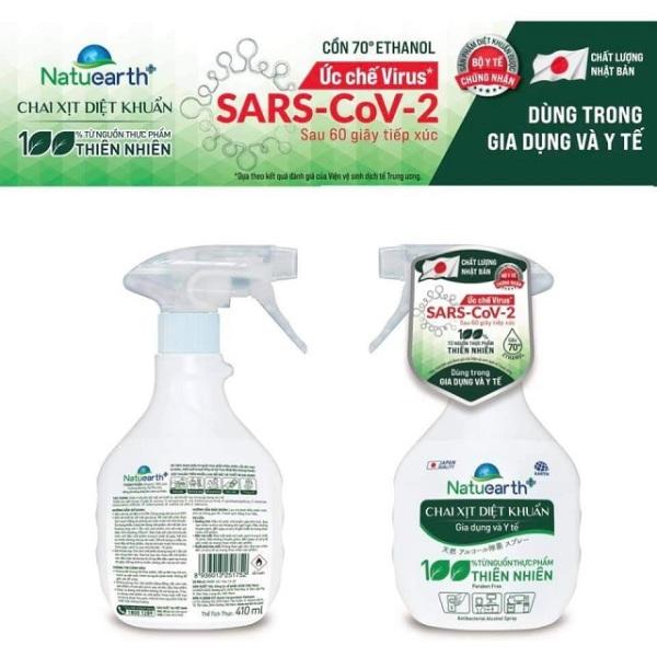 Chai Xịt diệt khuẩn Natuearth 410ml  - Ức chế Virus SARS-CoV-2 (Chất lượng Nhật Bản)