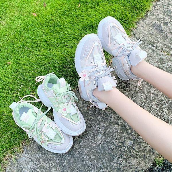 Giày  nữ sneaker nữ  hottend 2020 hoa đào, dây kép đi êm chân.