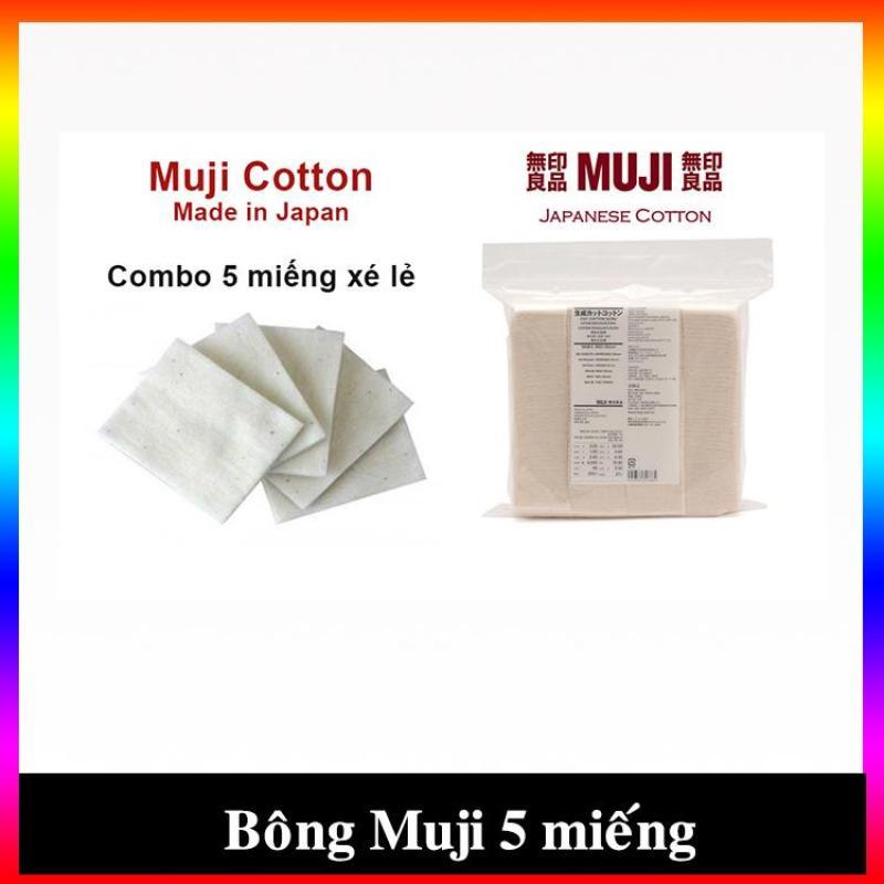 Bông tẩy trang hữu cơ Muji Nhật Bản tách lớp chiết lẻ tiện lợi