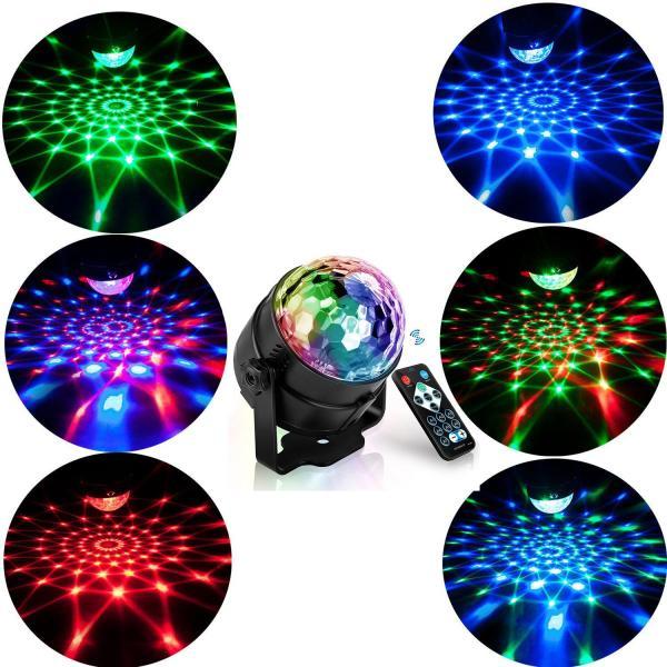 Đèn led vũ trường nháy theo nhạc RGB dải led chuyển động đa màu,đa hình,thiết kế hình pha lê nhỏ gọn,có điều khiển bảo hành 12 tháng