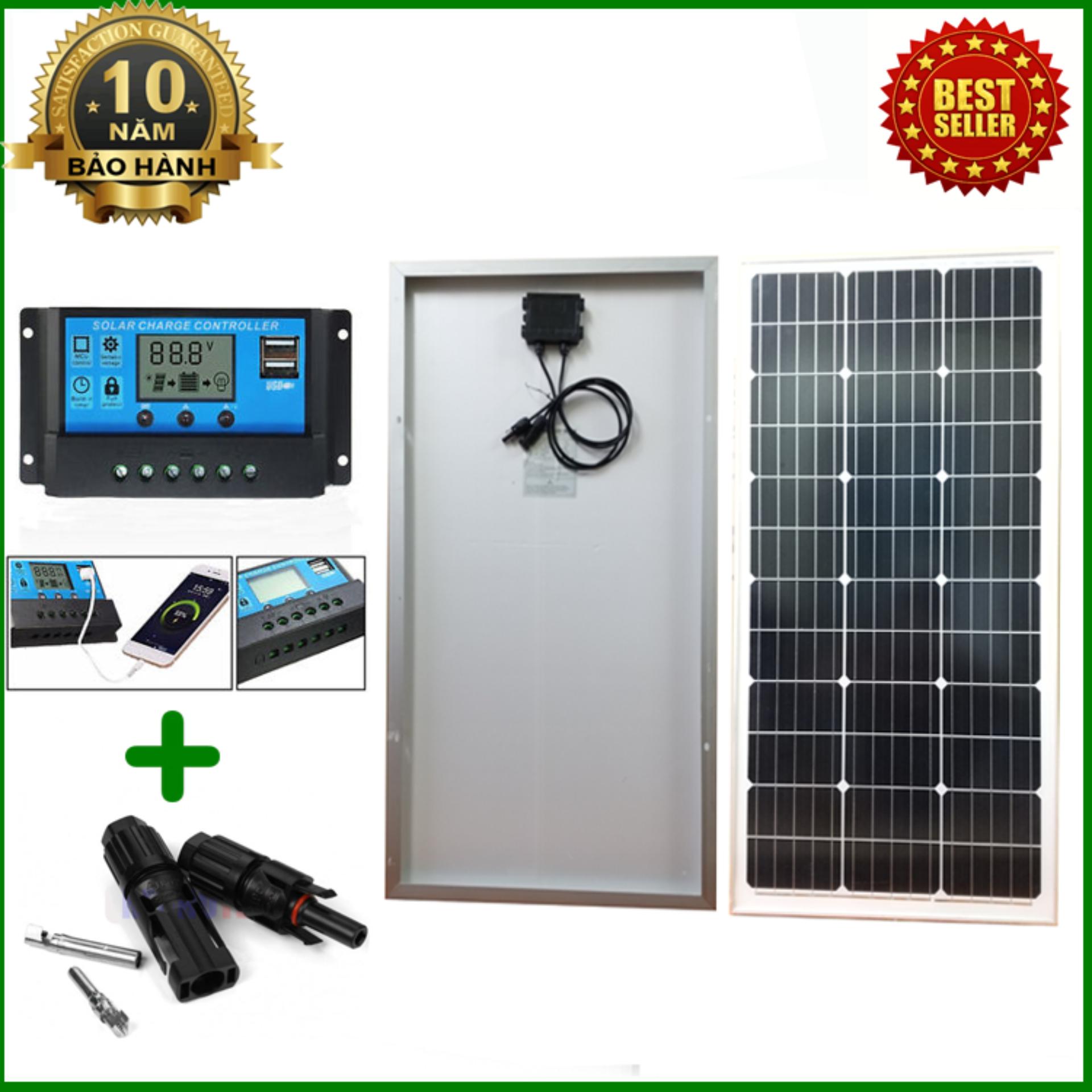 Tấm Pin năng lượng mặt trời đơn tinh thể Mono 70W tặng điều khiển sạc 30A 12V/24V LCD (công suất 360w) + jack MC4