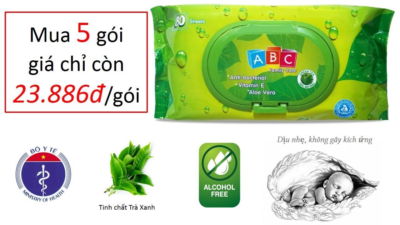 Khăn ướt Baby ABC Green Tea - Tinh Chất Trà Xanh kháng khuẩn - 80 sheets