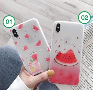 Ốp iPhone DƯA HẤU mát lạnh chất liệu dẻo không độc hại cho iPhone 6 6s 7 8 X XS XR XS MAX - ốp lưng iphone - ốp silicon chống sốc(OP41A-B) thumbnail