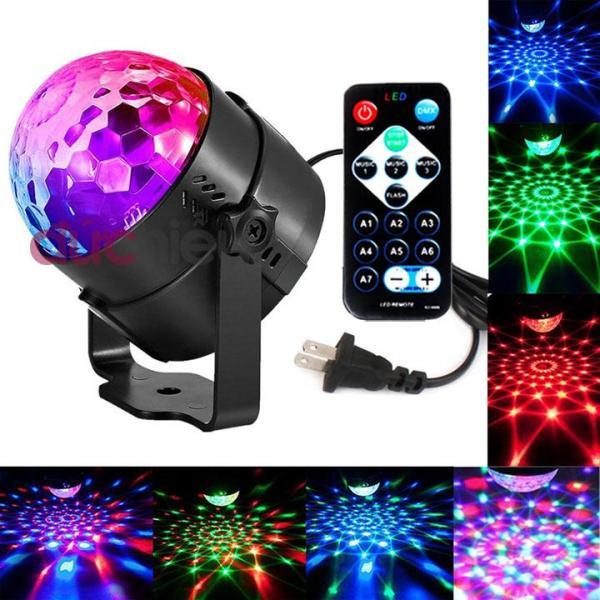 Đèn LED vũ trường xoay 7 màu cảm ứng nhạc mini có remote điều chỉnh, đèn sân khấu - 019