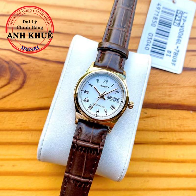 Đồng hồ nữ dây da Casio Standard chính hãng Anh Khuê LTP-V006GL-7BUDF cao cấp