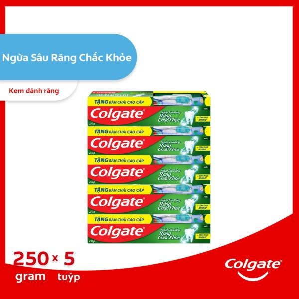 Bộ 5 kem đánh răng Colgate ngừa sâu răng răng chắc khỏe 250g/tuýp tặng bàn chải đánh răng lông tơ nhập khẩu Thái Lan