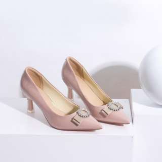Giày Cao Gót 5cm Gót Mica Mũi Nhọn Nơ Đính Đá Pixie X426