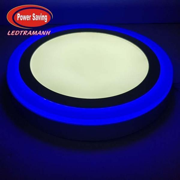 Đèn mâm led HG 24W nổi áp trần viền xanh dương 3 chế độ