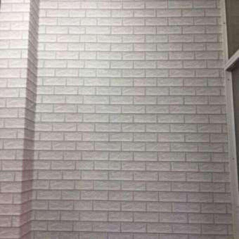 Cuộn 10M decal giấy dán tường (có sẵn keo) - GẠCH 3D XÁM TRẮNG
