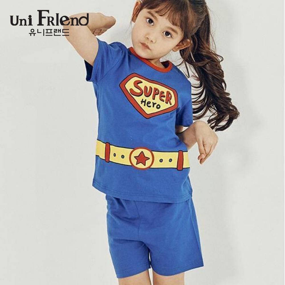Giá bán Đồ bộ mặc nhà bé gái Unifriend thun ngắn họa tiết super U9SSTS02