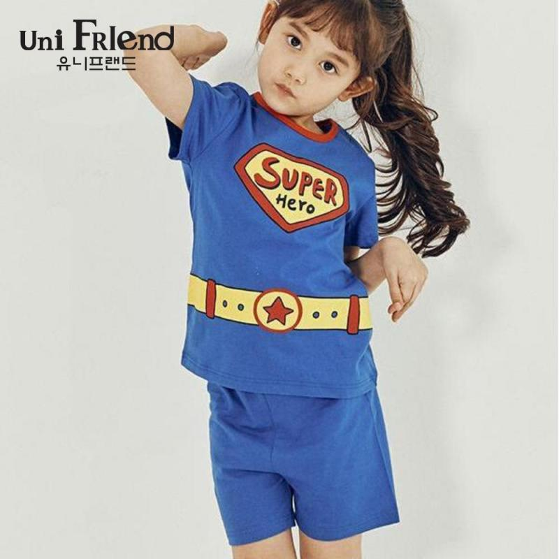 Nơi bán Đồ bộ mặc nhà bé gái Unifriend thun ngắn họa tiết super U9SSTS02