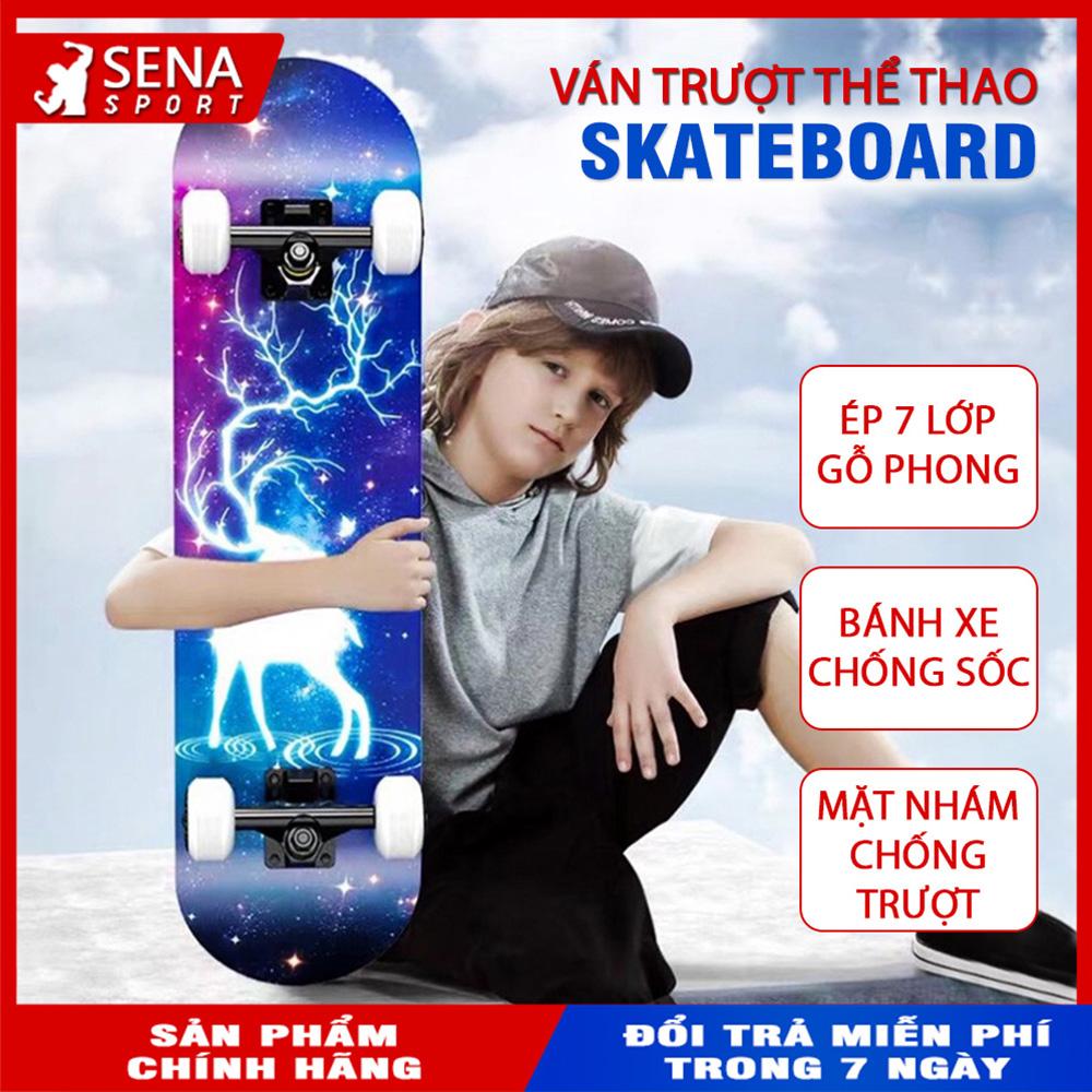 Mua Ván Trượt Thể Thao, Ván Trượt Skateboard Gỗ Phong 7 Lớp, Mặt Nhám Cao Cấp
