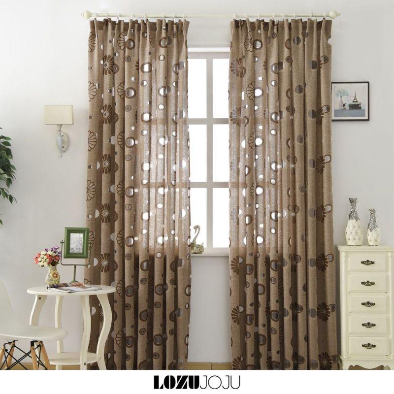 【sẵn sàng】LOZUJOJU Home Decor trang trí phòng ngủ rèm phòng ngủ vạch sọc kim cương bông hoa trắng Rỗng ra RING TYPE 1PCS