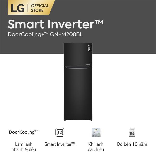 [FREESHIP 500K TOÀN QUỐC][CHỈ CÒN 6,540,000] Tủ lạnh LG Smart Inverter ngăn đá trên với DoorCooling+™ GN-M208BL 225L (Đen) - Hãng phân phối chính thức