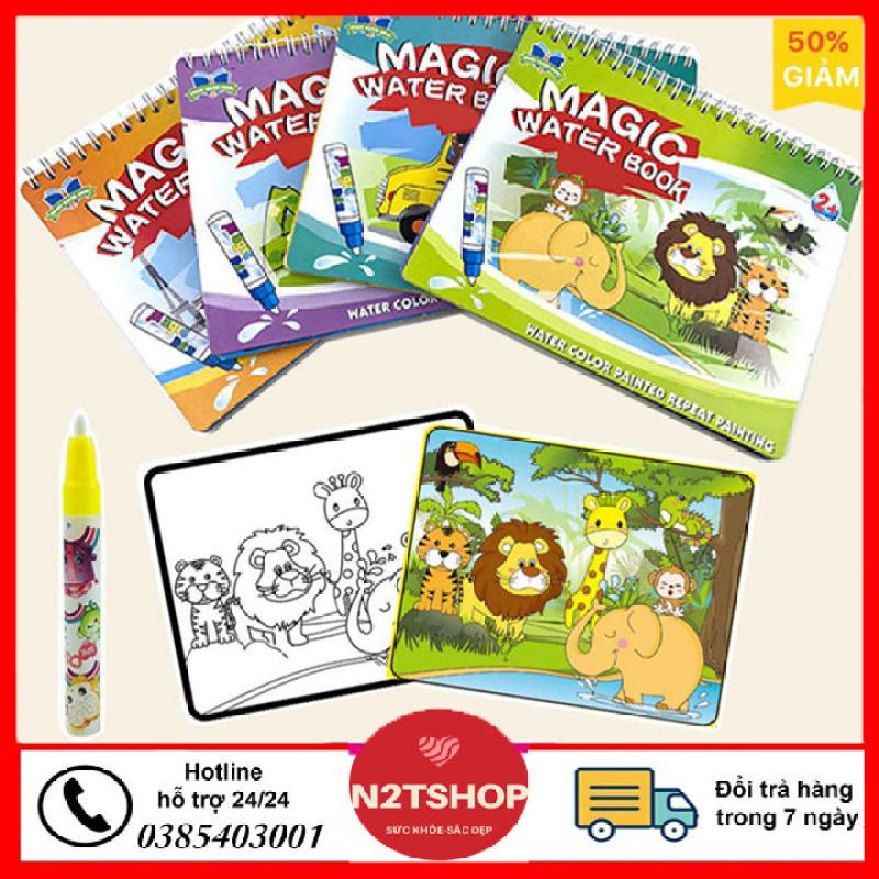 tô màu nước, quyển Sách Tập Vẽ Tranh Tô Màu Nước Thần Kỳ Doodle, sách tô màu với nhiều chủ đề khác nhau cho trẻ, bút sử dụng nước có thể sử dụng nhiều lần