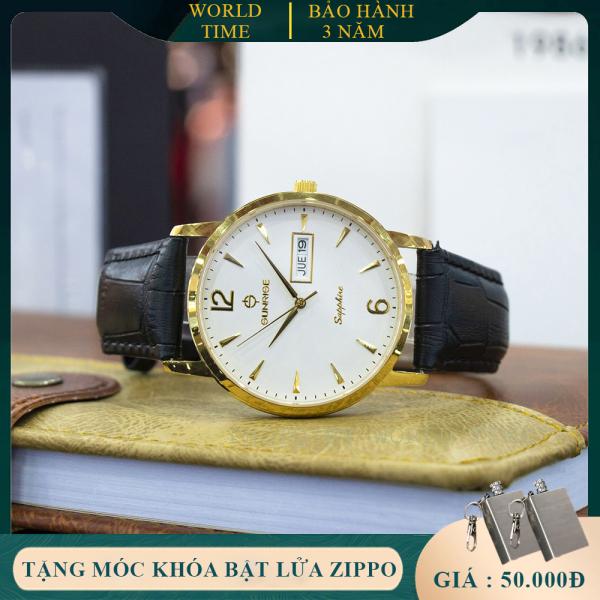 Đồng hồ nam Sunrise DM778SWA Full Box, Kính Sapphire Chống xước, Chống nước, Dây da cao cấp, Thẻ bảo hành toàn quốc 3 năm
