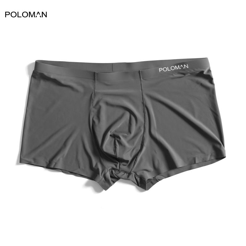 POLOMAN Quần lót Boxer nam vải lụa sữa tự nhiên 100% thoáng khí,co giãn cao cấp