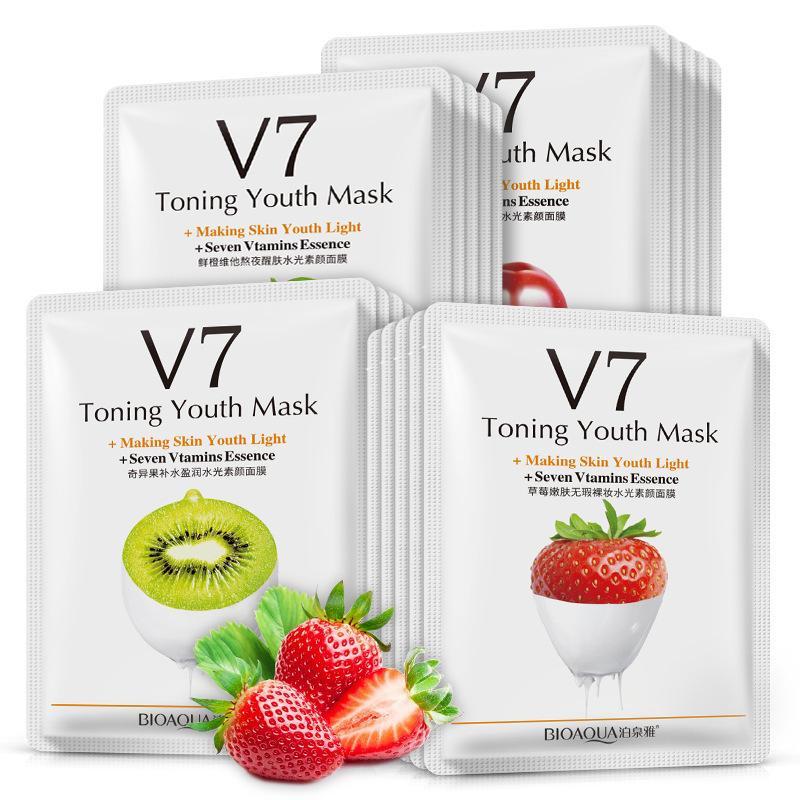 Combo 10 miếng mặt nạ Bioaqua V7 chiết xuất từ các loại quả và sữa chua nhập khẩu