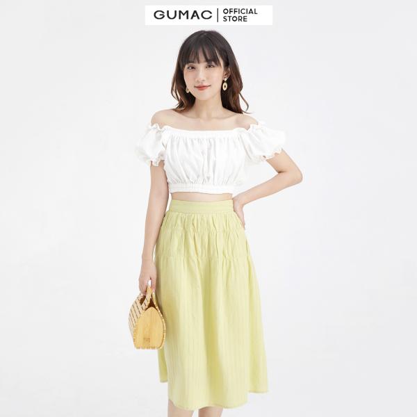 Nơi bán Chân váy nữ midi xếp nhún GUMAC VB631