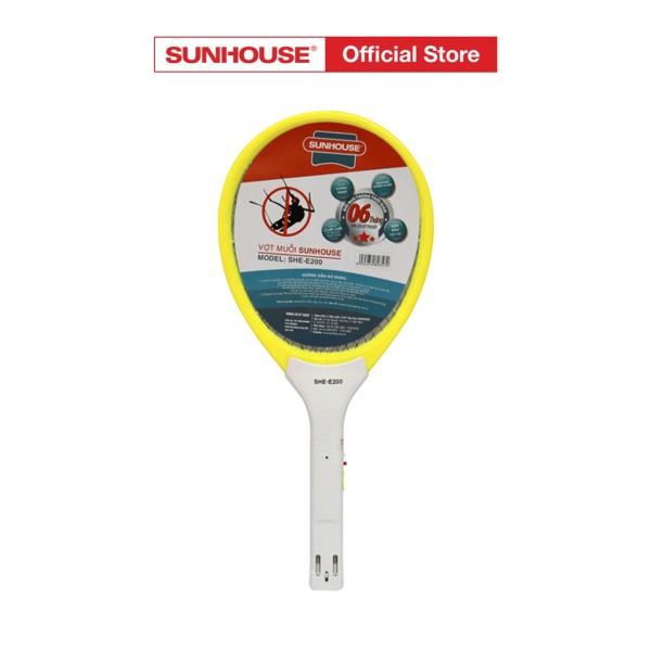 Vợt muỗi Sunhouse SHE-E200 màu vàng, vợt muỗi Sunhouse tích hợp đèn báo sạc tiện dụng, nhựa ABS chịu va đập mạnh