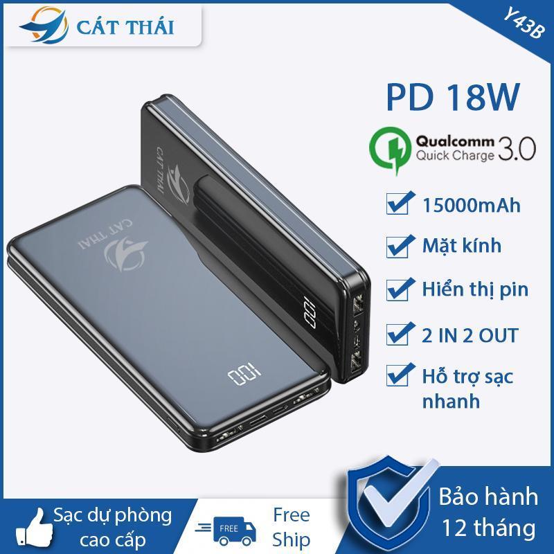 Giá Pin sạc dự phòng Y43B dung lượng 15000mAh mặt kính hiện đại có hiển thị lượng pin 2 Cổng USB 2 cổng Input Type-C và Micro nhỏ gọn siêu mỏng thích hợp cho các bạn xài Android