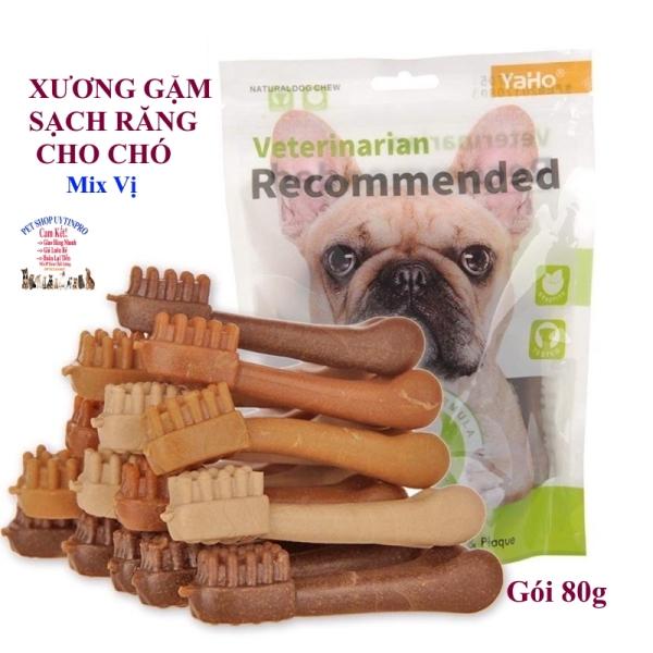 XƯƠNG GẶM CHO CHÓ THÚ CƯNG Yaho Veterinarian Recommended Mix vị Gói 80g Giúp sạch răng Thơm miệng Loại bỏ mảng bám