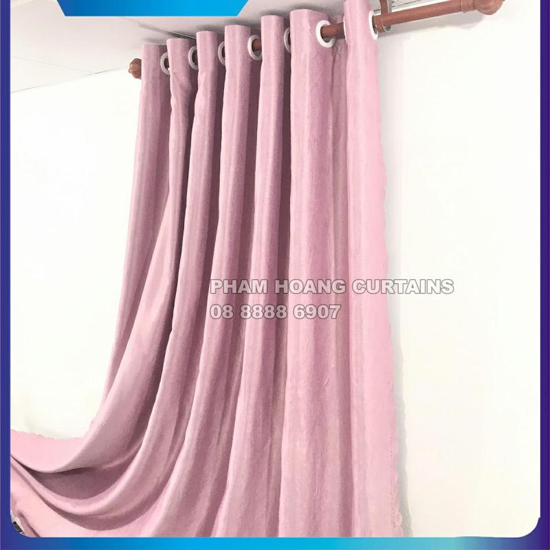 Màn cửa, rèm cửa màu hồng, NGANG CAO TÙY CHỌN, dùng làm rèm cửa chính, rèm cửa sổ, màn cửa chống nắng + tặng dây vén màn trang trí, miasimi curtains hoàng yến