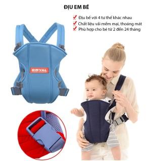 Địu 4 Tư Thế Chống Gù Royal Cho Bé An Toàn Và Thoải Mái Địu trợ lực 4 tư thế cho bé từ 4 tháng tuổi - Chất liệu vải cotton, full box thumbnail