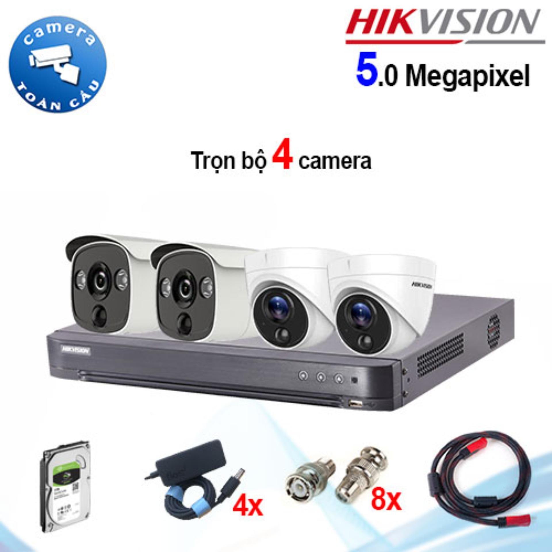 Trọn bộ 4 camera Hikvision DS-2CE12H0T-PIRL (5MP) + DS-2CE71H0T-PIRL (5MP) + đầu ghi 4 kênh DS-7204HUHI-K1