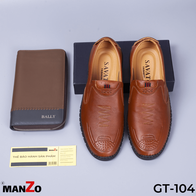 GIÀY LƯỜI NAM GIÁ RẺ - GIÀY DÉP NAM DA BÒ - BẢO HÀNH 12 THÁNG TẠI MANZO STORE - GT-104NAU giá rẻ