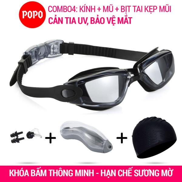 Kính bơi, mũ bơi trơn, bịt tai kẹp mũi POPO Collection 2360 mắt trong chống tia UV chống sương mờ