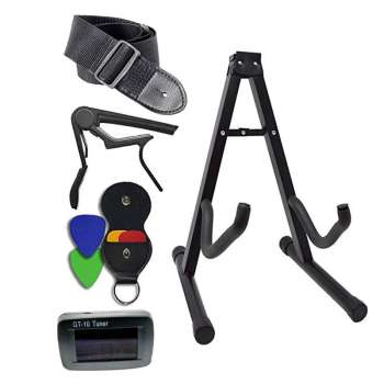 Guitar Accessories Kit - Stand Clip-On Tuner Strap Capo with Leather Holder - for Acoustic and Electric Instruments
