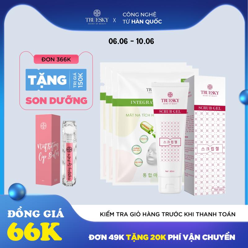Bộ sản phẩm dưỡng trắng da mặt Truesky M05 gồm 1 gel tẩy tế bào da 60ml & 3 miếng mặt nạ dưỡng trắng da mặt giá rẻ