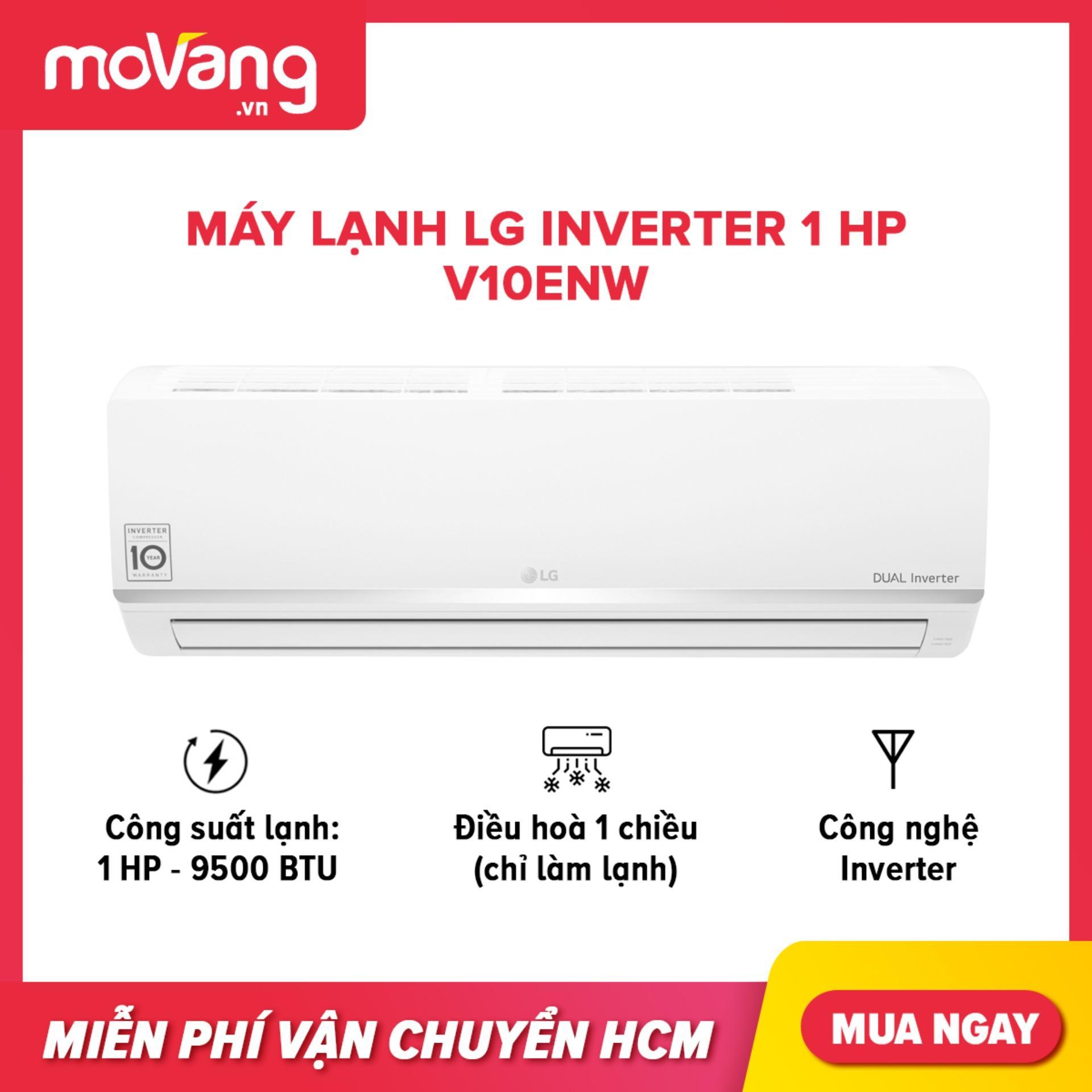 Bảng giá Máy lạnh LG Inverter 1HP V10ENW phạm vi làm lạnh 15m2, công nghệ tiết kiệm điện, kháng khuẩn khử mùi