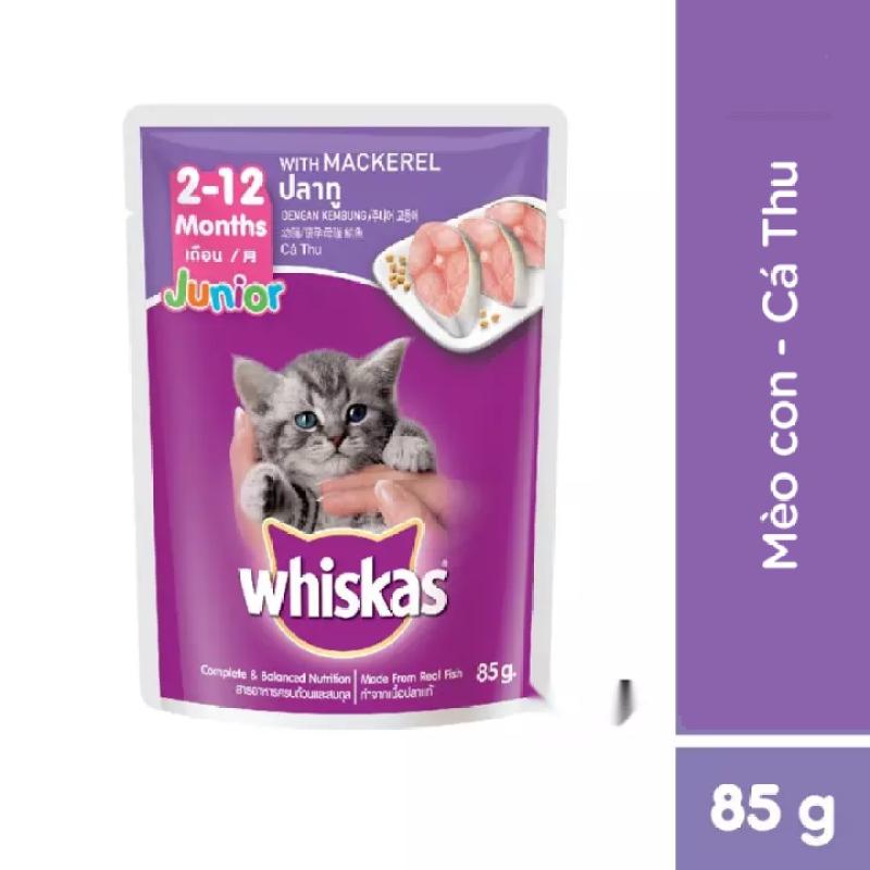 Bộ 6 túi thức ăn mèo con Whiskas vị cá thu túi 85g/túi