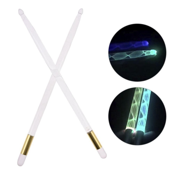 5A Acrylic Luminous Drum Stick Bright LED Light Up Drumsticks Jazz Drumsticks in the Dark Stage 13Colors Free Change