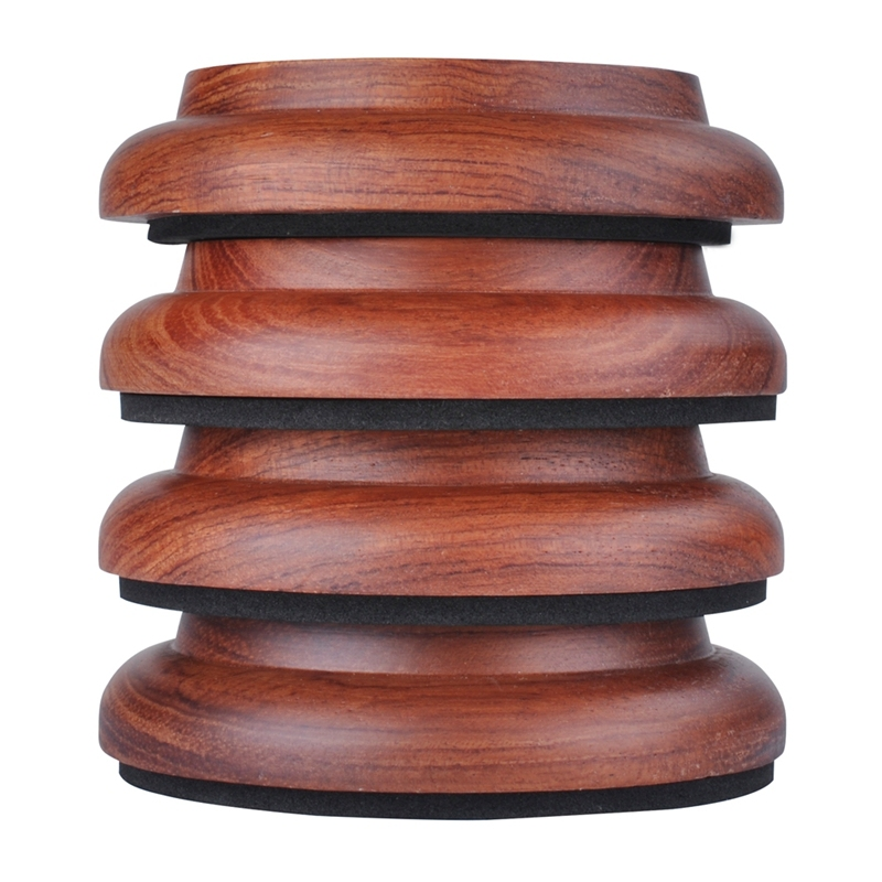 4Pcs Upright Piano Caster Cups,Solid Wood Piano Caster Piano Leg Floor Protectors with Non-Slip Anti-Noise Foam for Hardwood Floor(Sapele wood)
