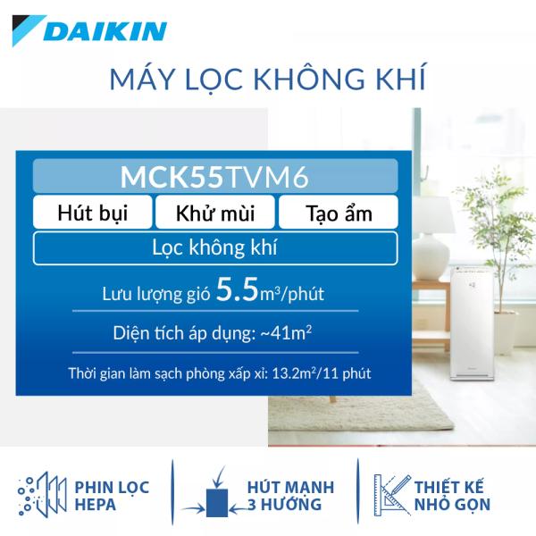 Máy Lọc không khí Daikin MCK55TVM6 - Tạo ẩm - Phù hợp phòng 41m2 - Công nghệ Streamer độc quyền - Phin lọc tĩnh điện Hepa - Hút gió 3 hướng - Vận hành êm ái - Thiết kế nhỏ gọn - Hàng chính hãng