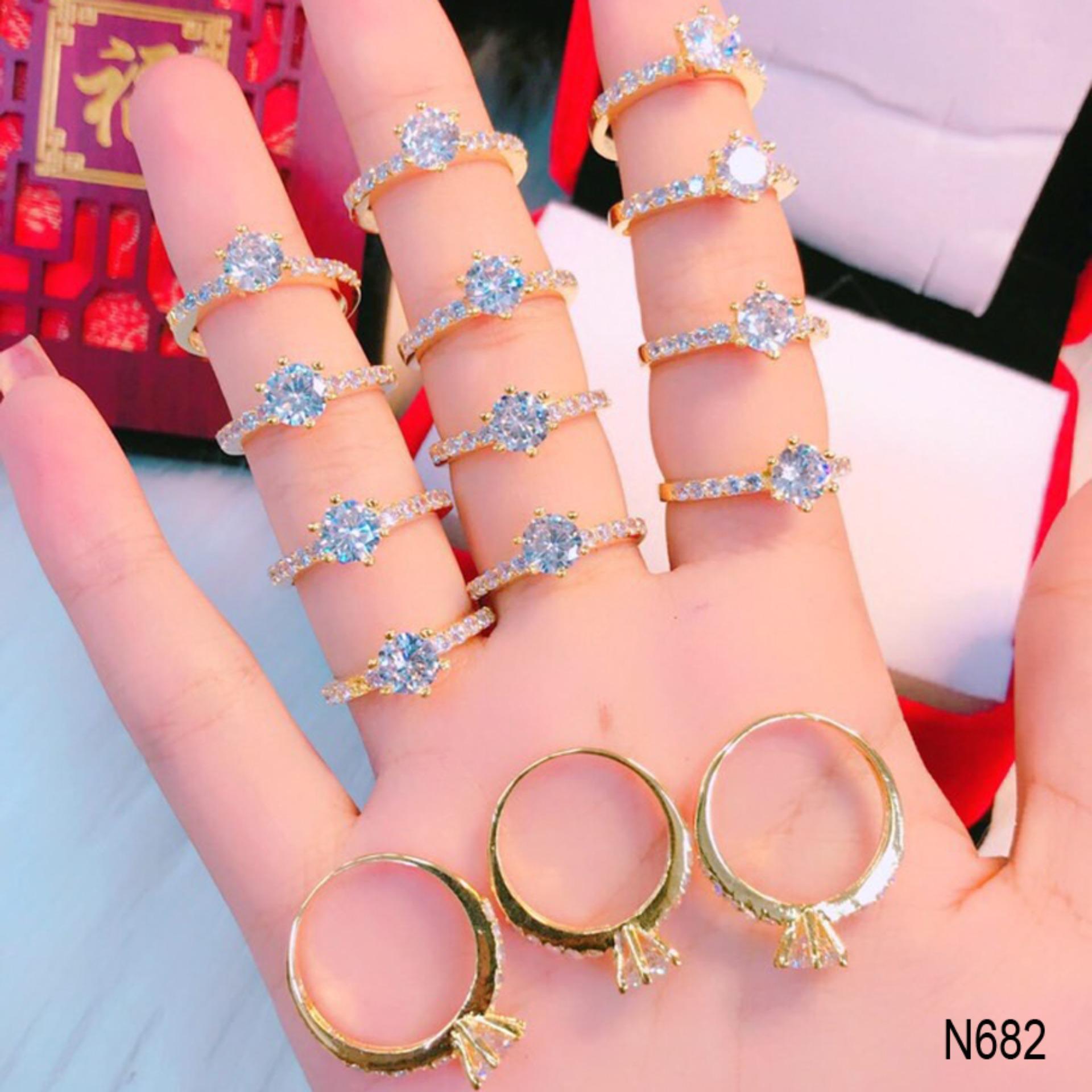 Nhẫn nữ đá hột cao đơn giản thiết kế thời thượng Orin N683