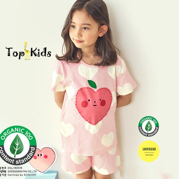 Giá bán Bộ Cộc Tay Bé Gái TRÁI TIM HỒNG, thương hiệu Unifriend Hàn Quốc 2021, 100% sợi Organic Cotton , TOPKID
