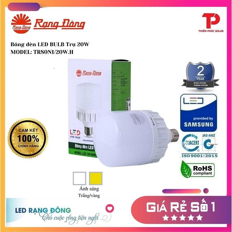 [Shop Chính Hãng]  Bóng đèn LED BULB Trụ Nhôm 30W - Model: LED TR100NĐ.30W.H Rạng Đông