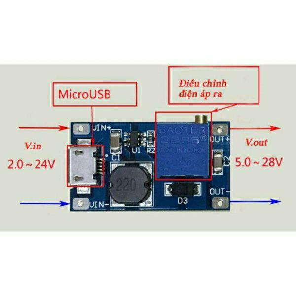 Bảng giá Mạch Tăng áp (Boost) DC 2 - 20V sang 5 - 28V cổng Micro USB Phong Vũ