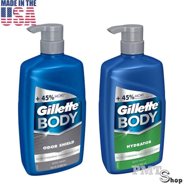 [USA] Sữa tắm dạng gel Gillette Body Odor Shield | Hydrator Hydratant chai vòi 863ml hương nam tính - Mỹ cao cấp