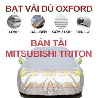 [LOẠI 1] Bạt che kín bảo vệ xe bán tải Mitsubishi Triton 4,5 chỗ tráng bạc cao cấp, vải bông chống xước 3 lớp vải dù Oxford , bạt phủ trùm che nắng, mưa, bụi bẩn, áo chùm bạc trùm phủ xe oto ban tai Bảo Tín Auto thumbnail