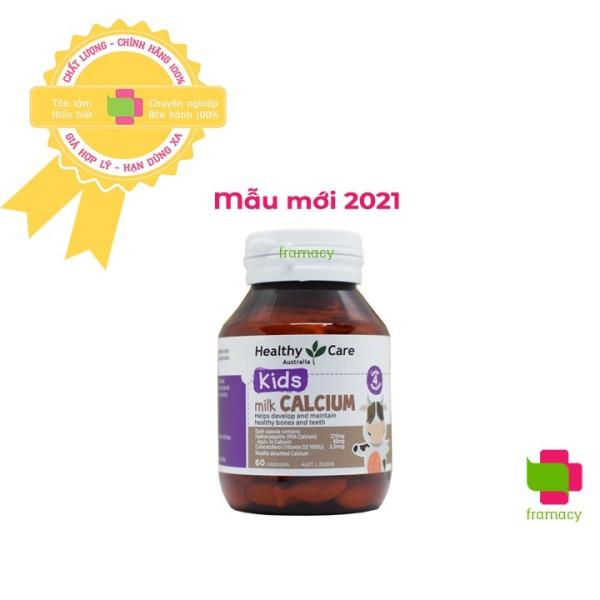 Viên uống canxi sữa Healthy Care Milk Calcium, Úc (60 viên)  biếng ăn, còi xương chậm mọc răng cho bé từ 4 tháng tuổi nhập khẩu