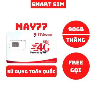 Sim 4G Vinaphone Itelecom May77 tặng 90GB data mỗi tháng, miễn phí gọi nội mạng sử dụng được toàn quốc 77K Tháng - Smart Sim HC thumbnail