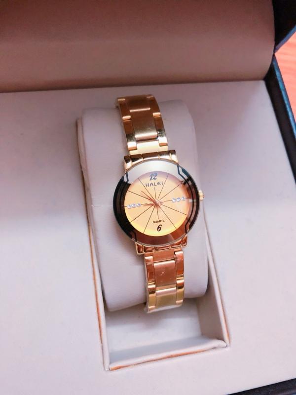 Đồng hồ Nữ  Halei dây thép thời thượng  TẶNG 1 vòng  may mắn (457 full vàng)