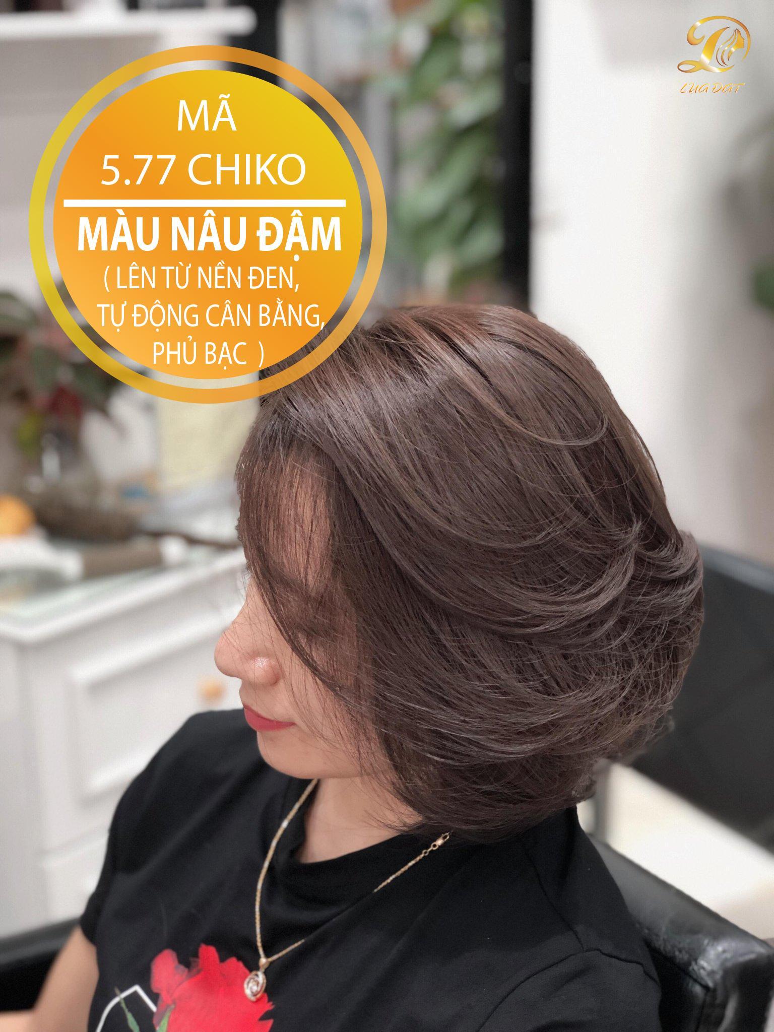 Thuốc nhuộm tóc màu nâu đậm (5.77) KHÔNG TẨY + TẶNG kèm trợ nhuộm cao cấp