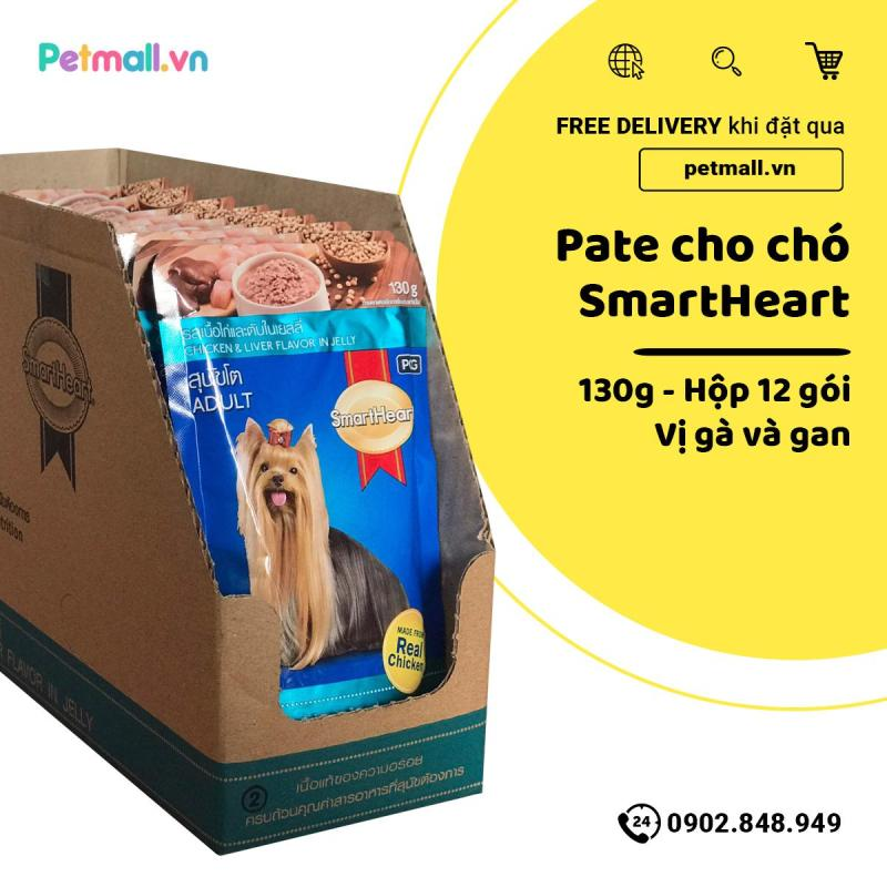 Pate SmartHeart Adult 130g - Hộp 12 gói - Chicken & Liver